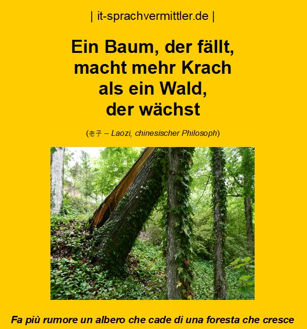 Redewendungskarte – Ein Baum, der fällt, macht mehr Krach ...