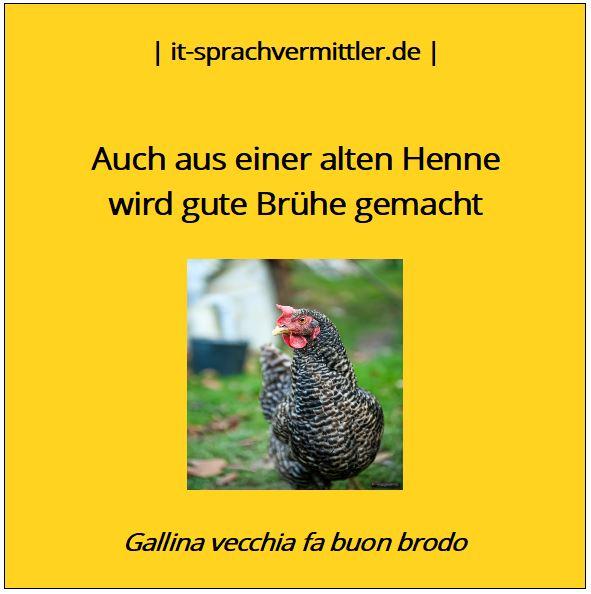 Redewendungskarte - Auch aus einer alten Henne ...